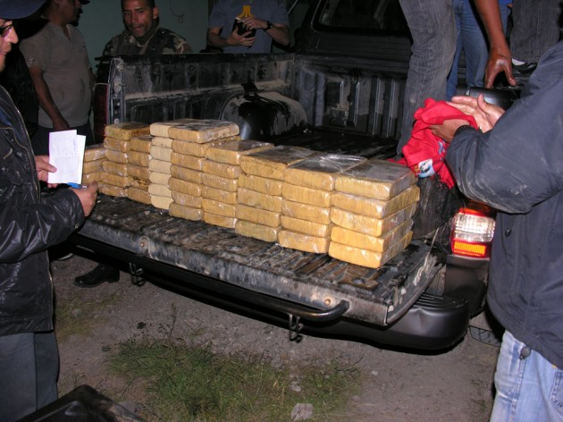 Cocaine loads smuggled in a four door pickup.