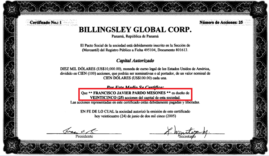 Certificado de acciones de Billingsley Global Corp.